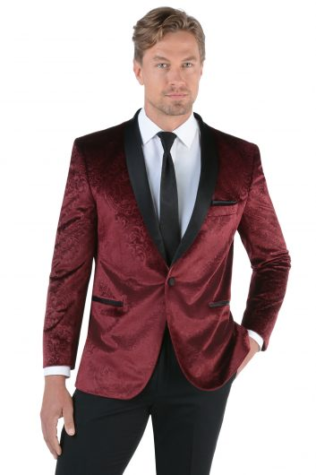 All Styles Embossed Burgundy Velvet by Savvi Black Label