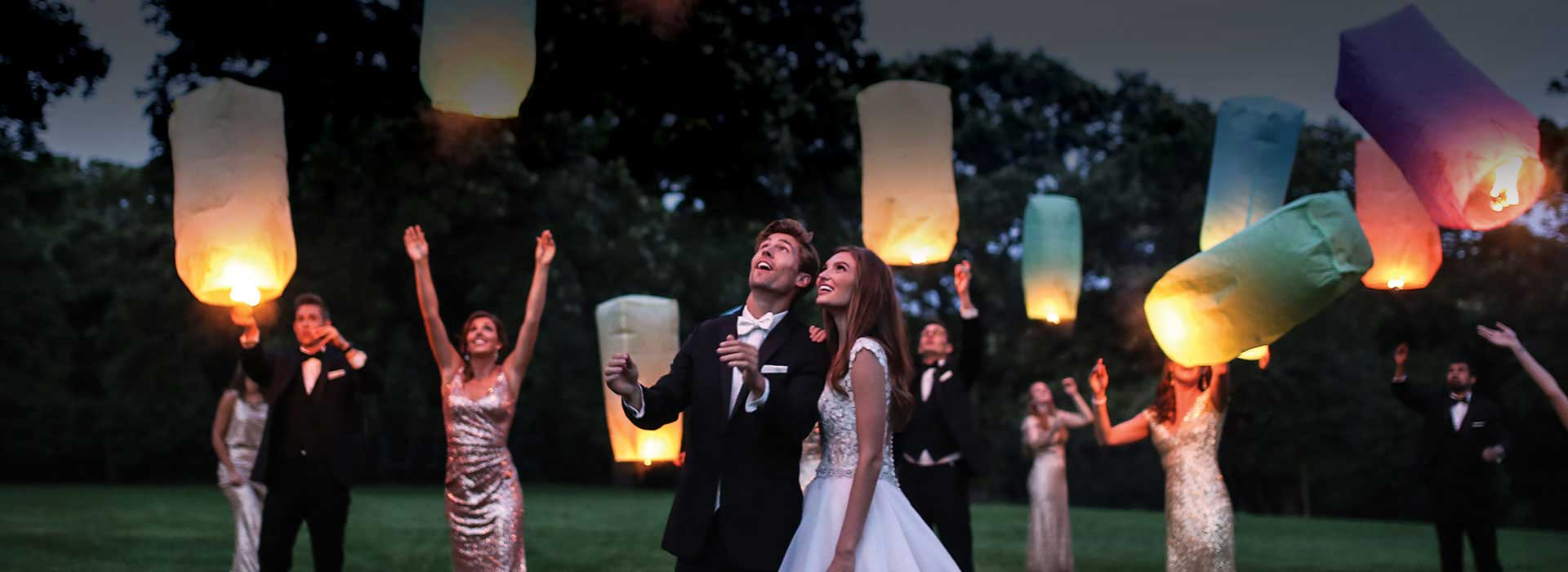 Wedding Party at night with lanterns
